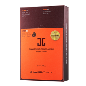 JAYJUN REAL WATER BRIGHTENING BLACK 3step-MASK 1 Box of 10 Sheets 韩国JAYJUN黑色水光补水保湿提亮紧致三部曲面膜