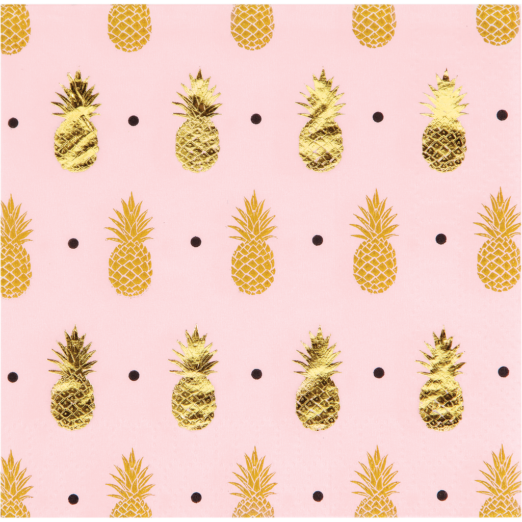 Gold Pineapple Napkins - 16 Pack - cavepop