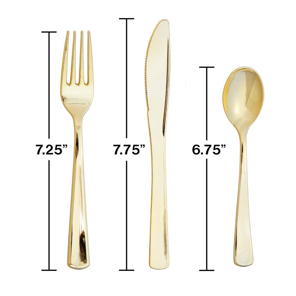 Gold Metallic Cutlery - 24 Assortment - cavepop
