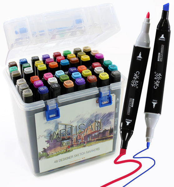 Cavepop 48 Colors Dual Tip Alcohol Based Sketch Markers Set - cavepop
