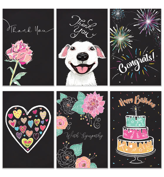 Cavepop Unique Chalkboard Inspiration Greeting Cards - 6 Pack Assortment - cavepop