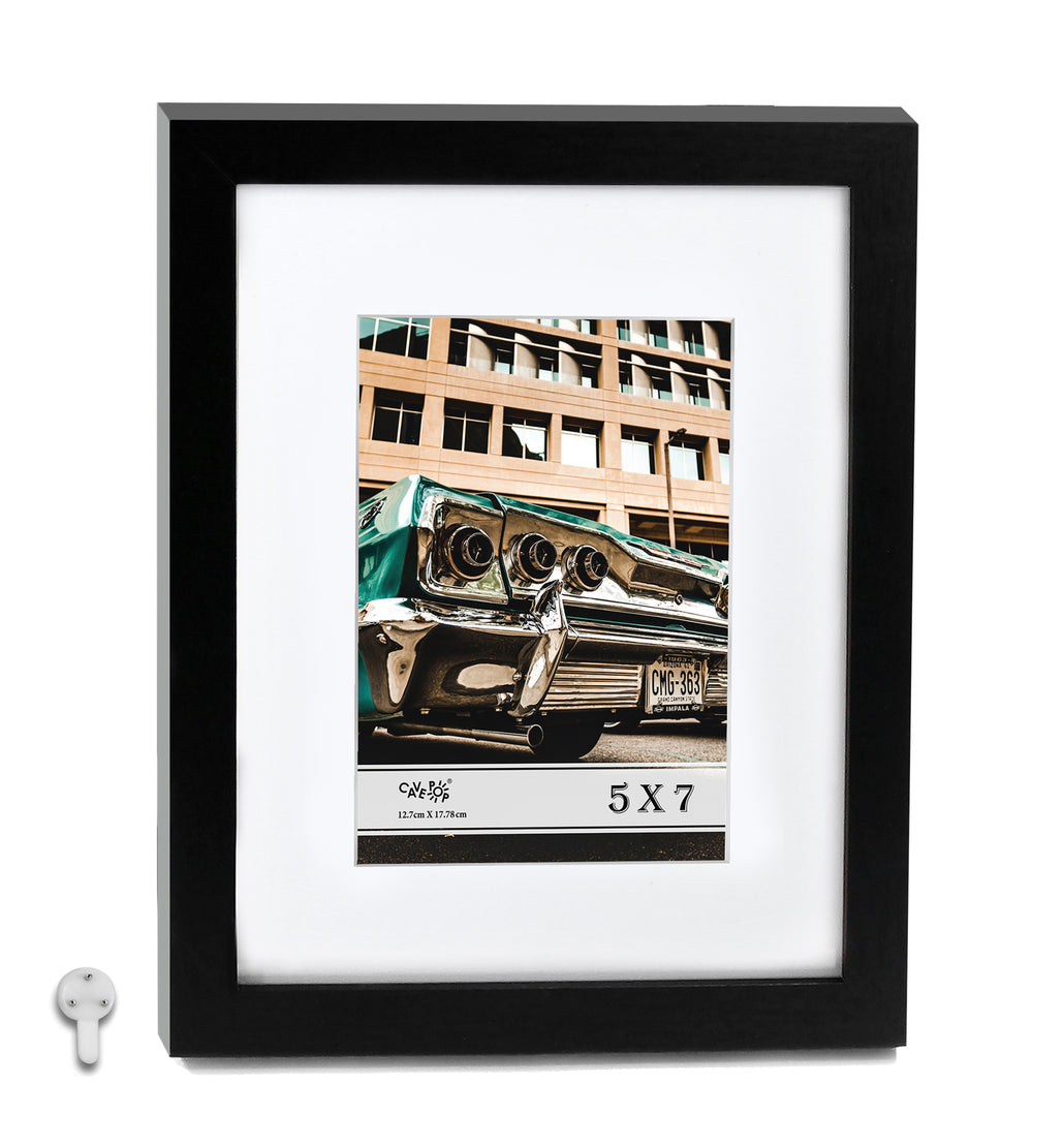 "Cavepop 8x10"" Black Picture Frame Matted to Display 5x7"" Photos - Multi-Pack"