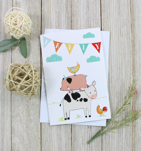 Cavepop Barnyard Party Birthday Card - cavepop