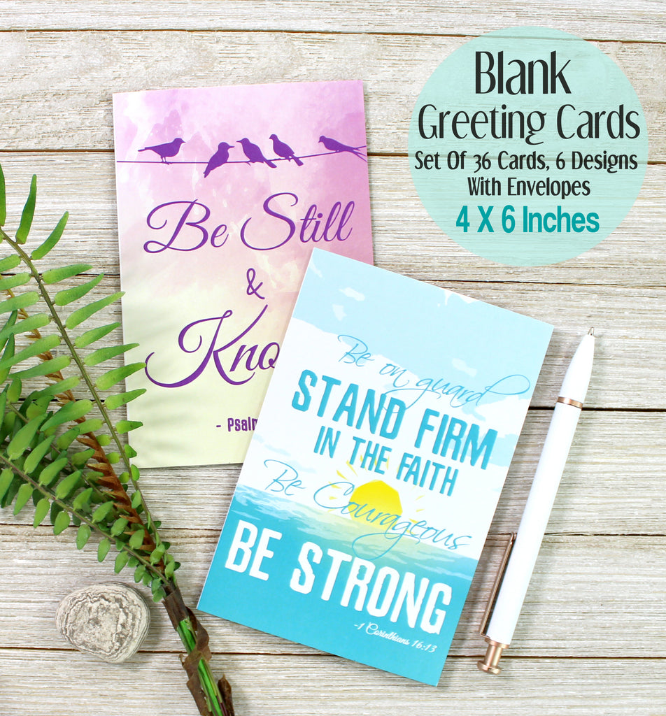 Cavepop Inspirational Bible Verse Greeting Cards Stationary Set - 6 Pack Assortment - cavepop