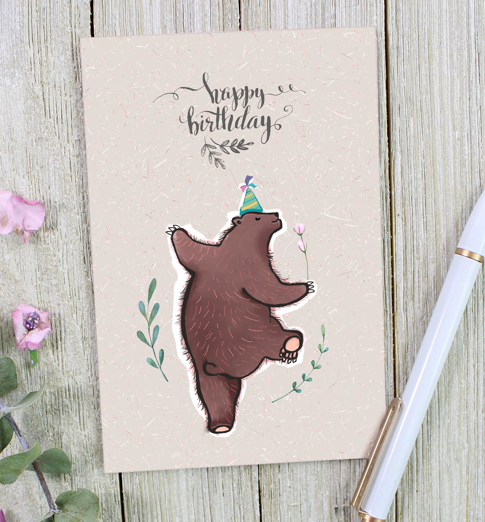 Happy Birthday Bear Greeting Card - cavepop