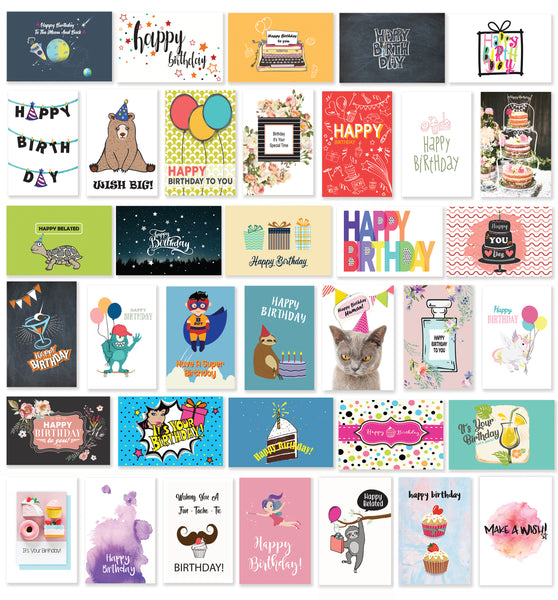 Cavepop Birthday Greeting Cards - 36 Pack Assortment - cavepop