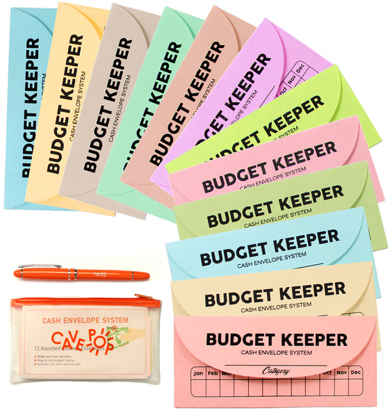 Cavepop Budget Envelopes with Pen - 12 Pack - cavepop