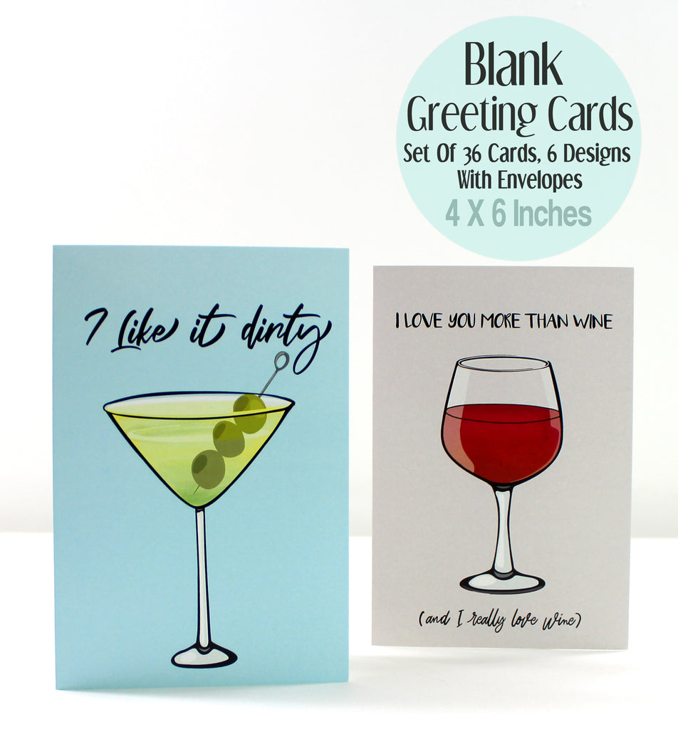 Cavepop Cocktail Greeting Cards - 6 Pack Assortment - cavepop