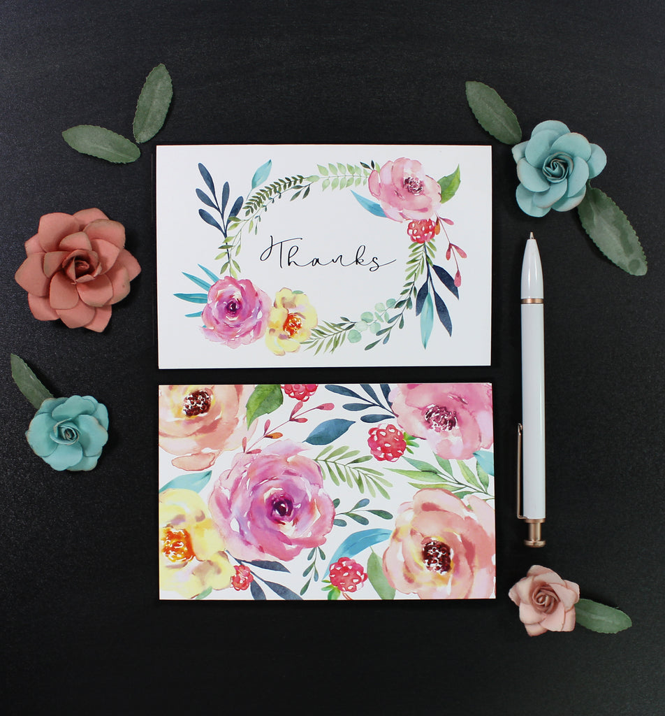 Floral Thank You Cards - 6 Pack Assortment - cavepop