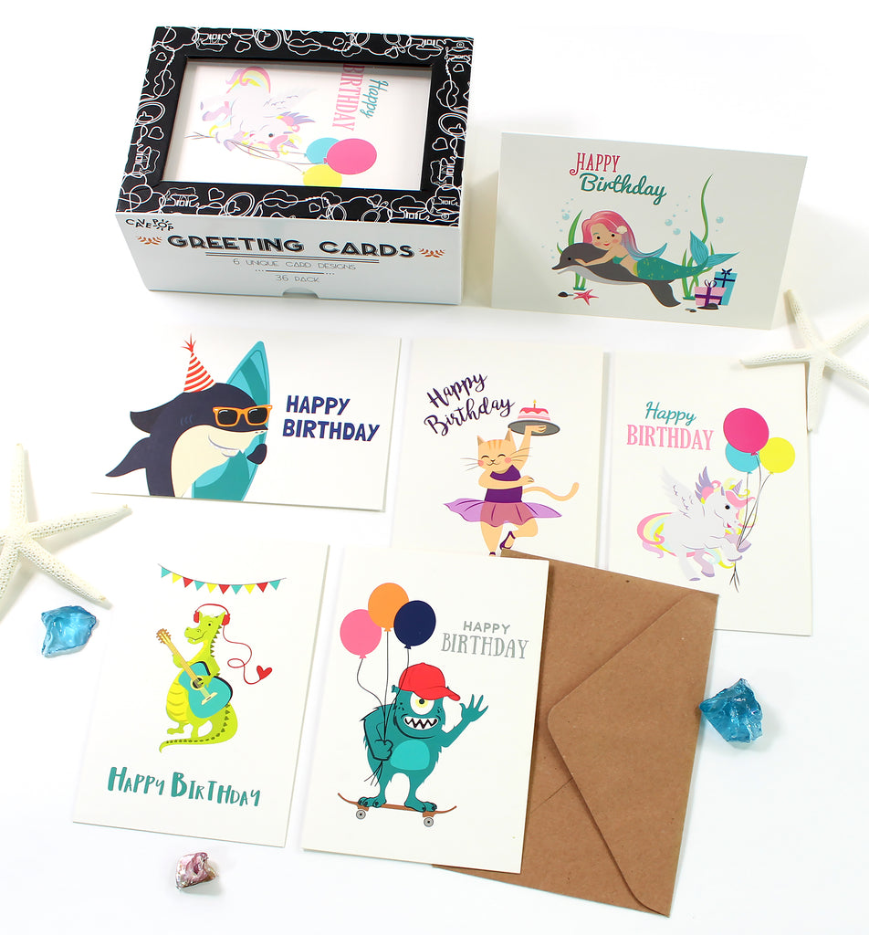 Cavepop Kid's Birthday Cards - 36 Pack Assortment - cavepop