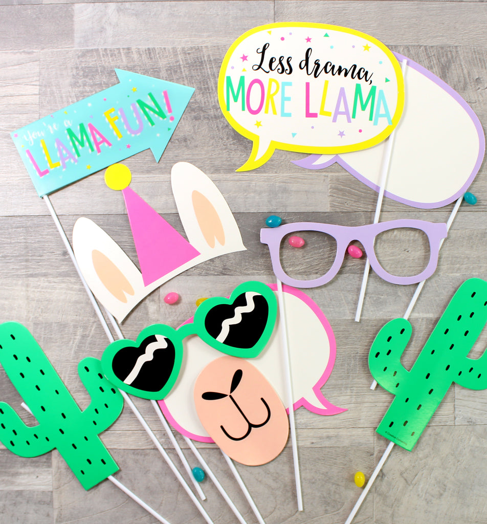 LLama Party Photo Props - 10 Pieces - cavepop