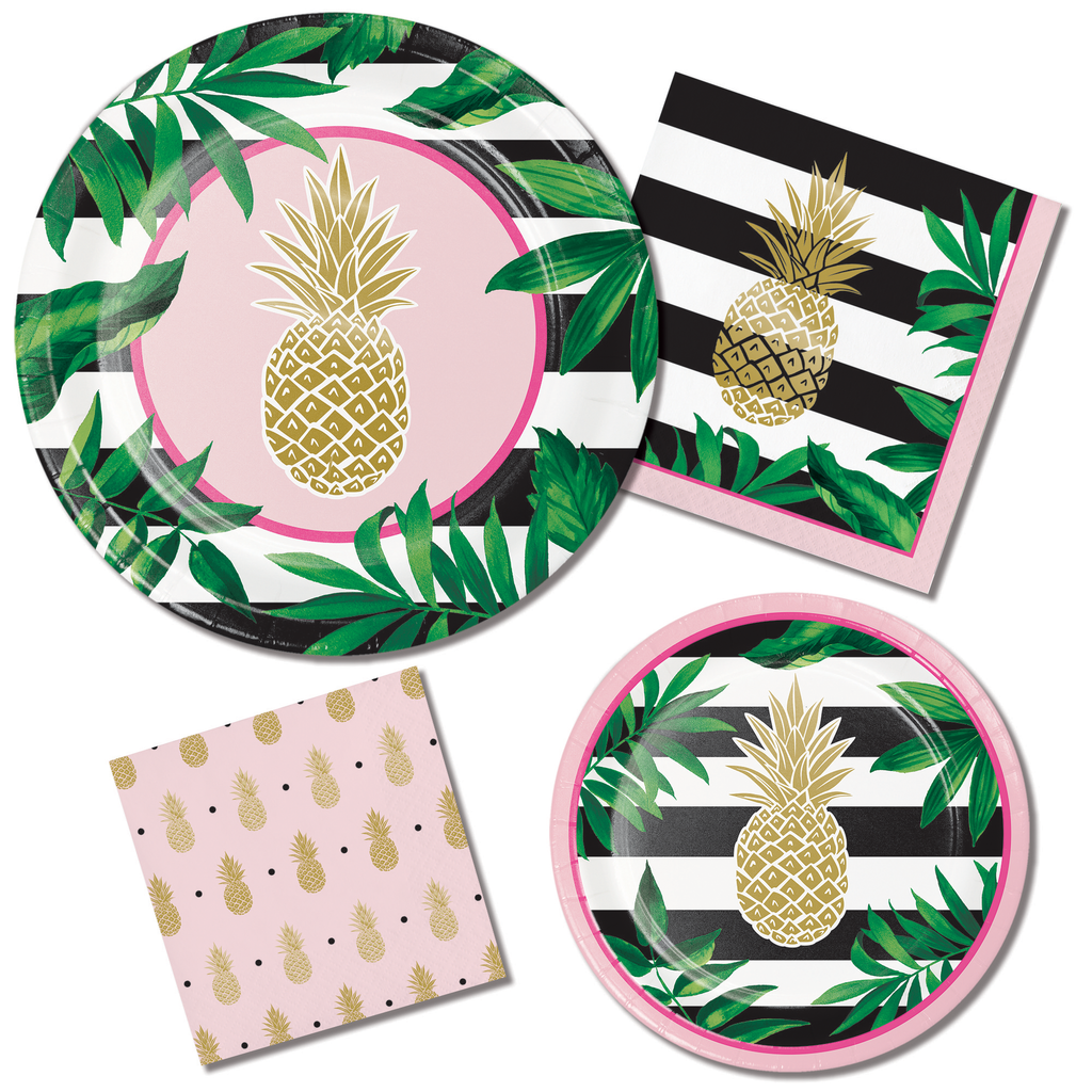 Gold Foil Pineapple Napkins - 16 Pack - cavepop