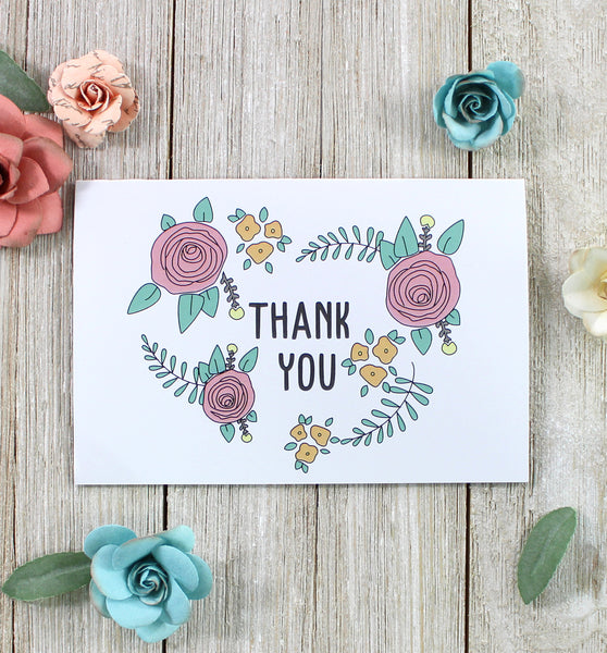 Cavepop Vintage Floral Thank You Card - cavepop