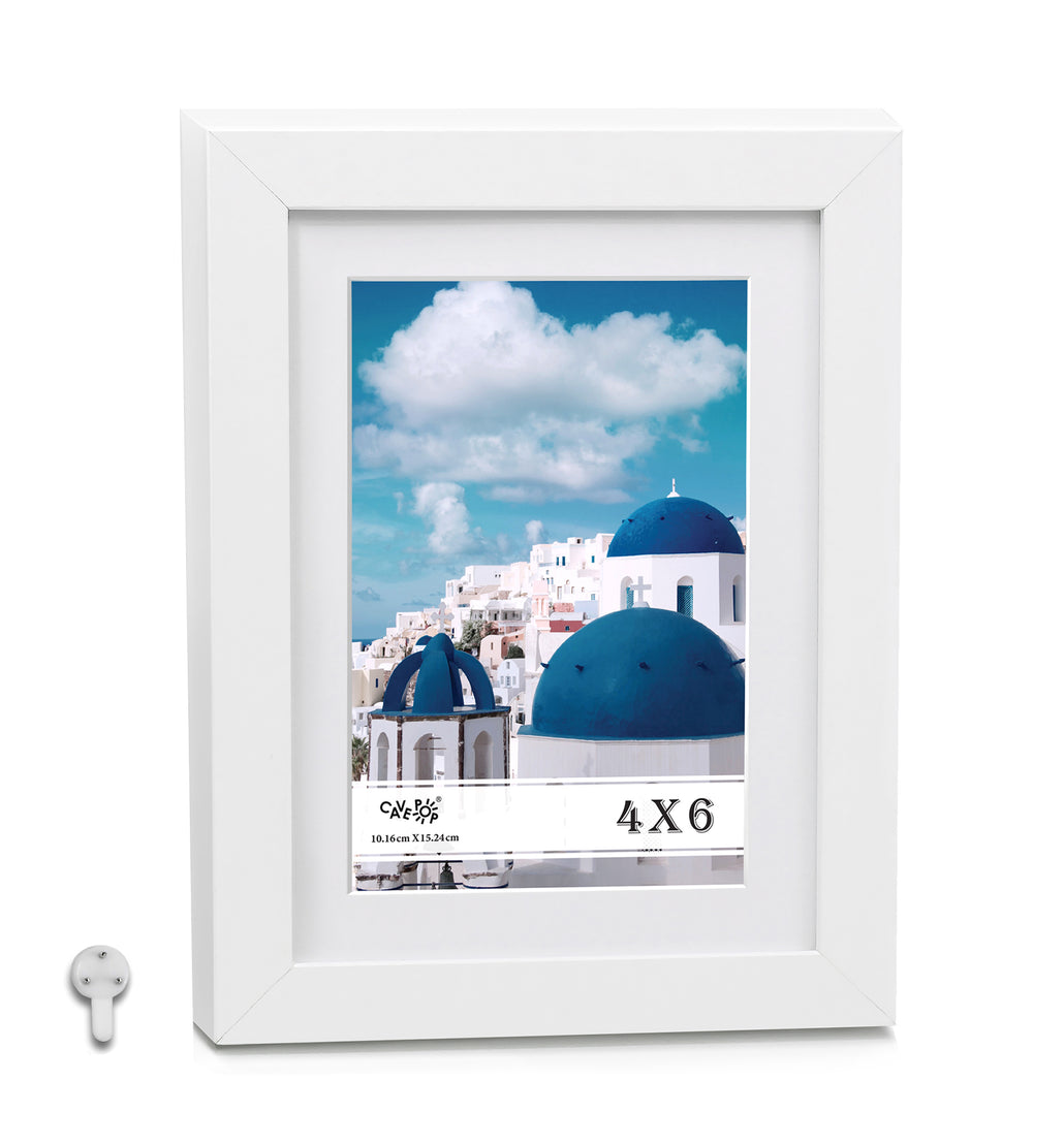 "Cavepop 5x7"" White Wood Picture Frame Matted to Display 4x6"" Photos - Multi-Pack"