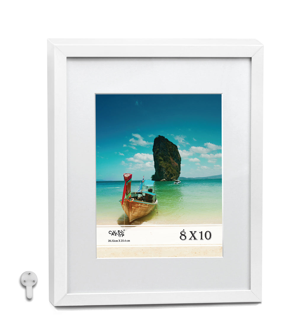 "Cavepop 11x14"" White Picture Frame Matted to Display 8X10"" Photos - Multi-Pack"