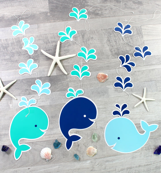 Blue Baby Whale Hanging Cutouts - 3 Pack - cavepop