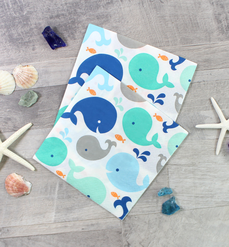Blue Baby Whale Napkins - 16 Pack - cavepop