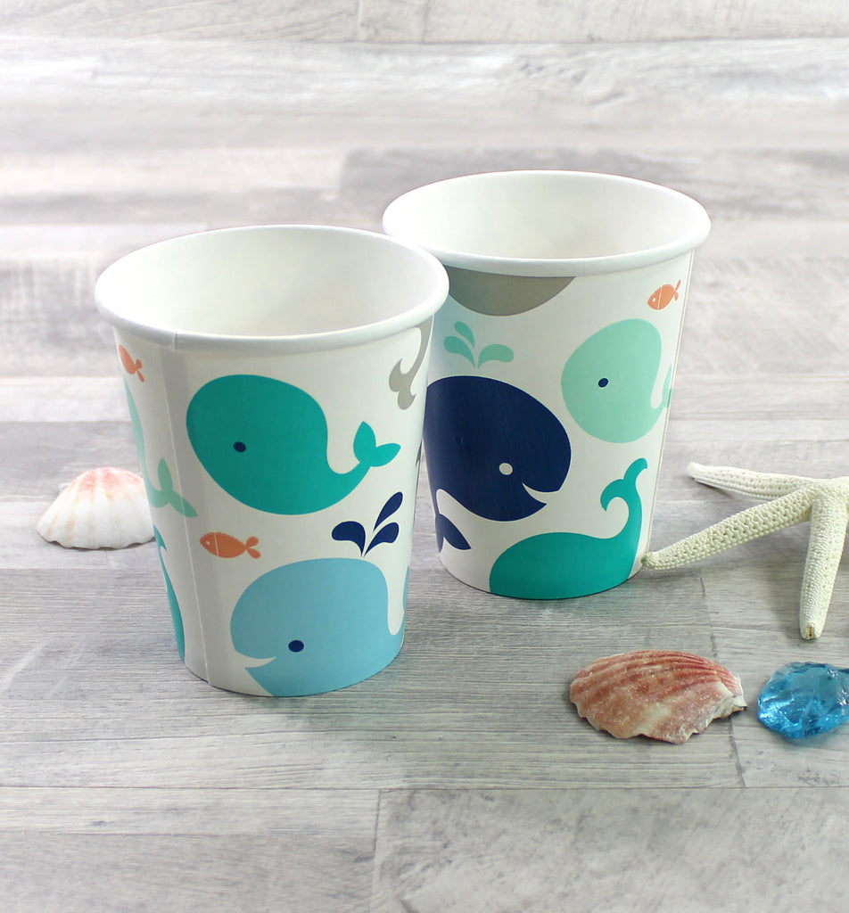 Blue Baby Whale Party Cups - 8 Pack - cavepop