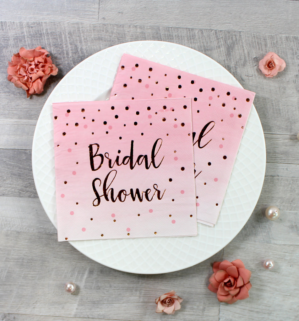 Gold Foil Bridal Shower Polka Dot Napkins - 16 Pack - cavepop