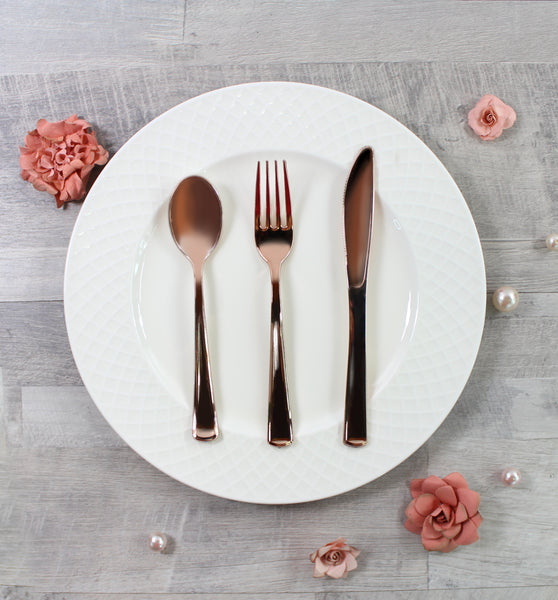 Cavepop Rose Gold Metallic Cutlery - 24 Assortment - cavepop