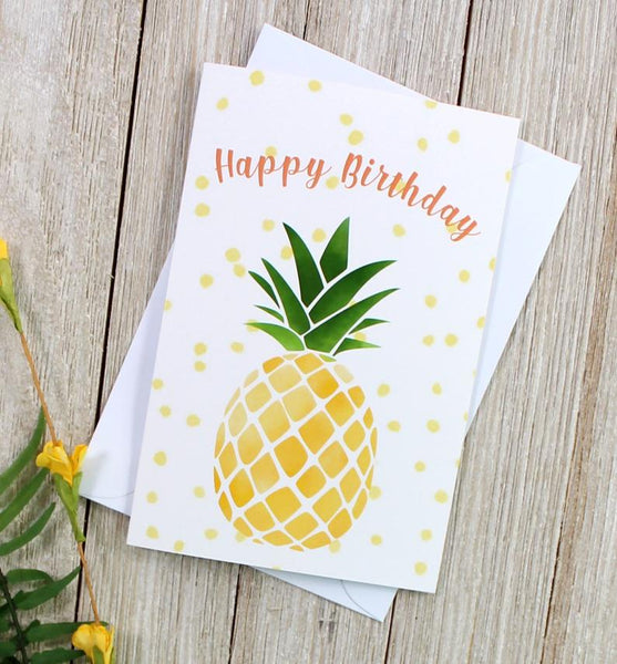 "Pineapple ""Happy Birthday"" Greeting Card - cavepop"