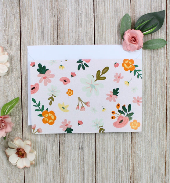Pink Floral Greeting Card - cavepop