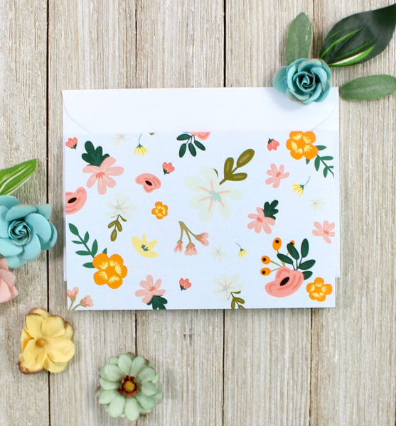 Blue Floral Greeting Card - cavepop