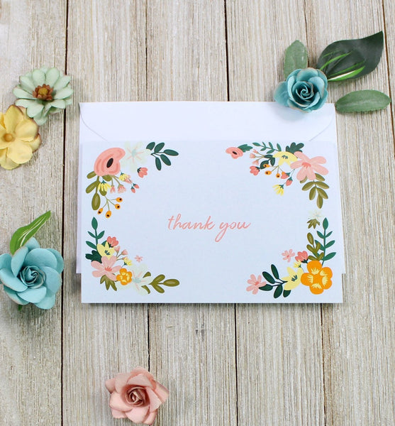 Blue Floral Thank You Card - cavepop