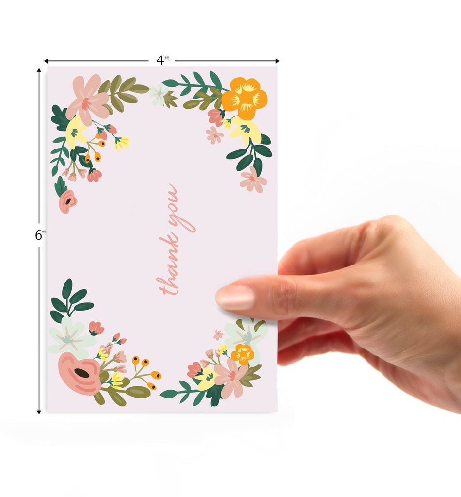 "Pink Floral ""Thank You"" Card - cavepop"