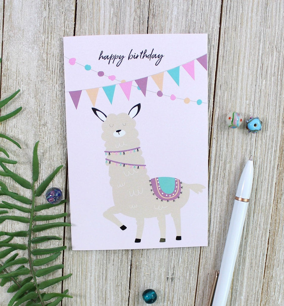 Cavepop Llama Happy Birthday Card - cavepop
