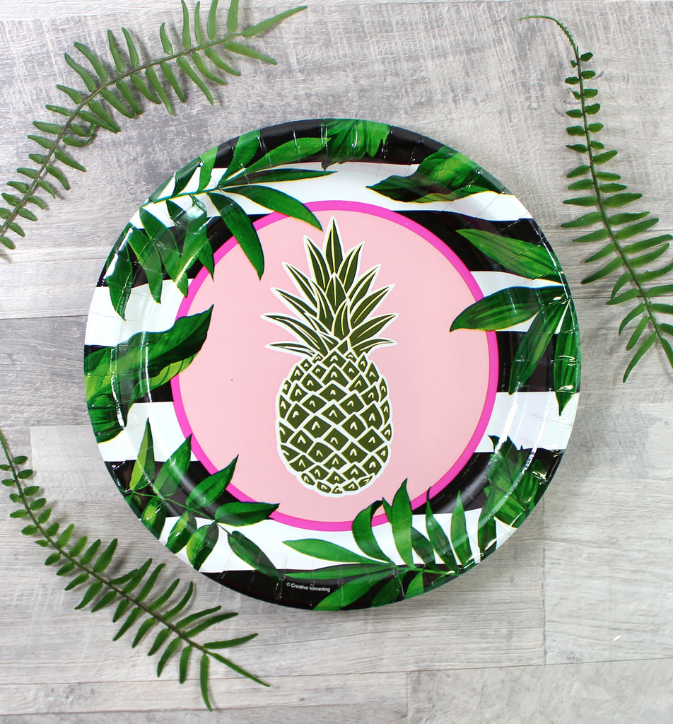 Gold Pineapple Banquet Plate (Disposable) - 8 Pack - cavepop