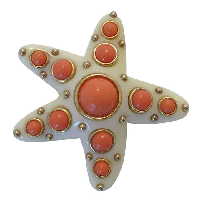 K.J.L. Faux ivory & coral cabochon starfish pin Kenneth J Lane