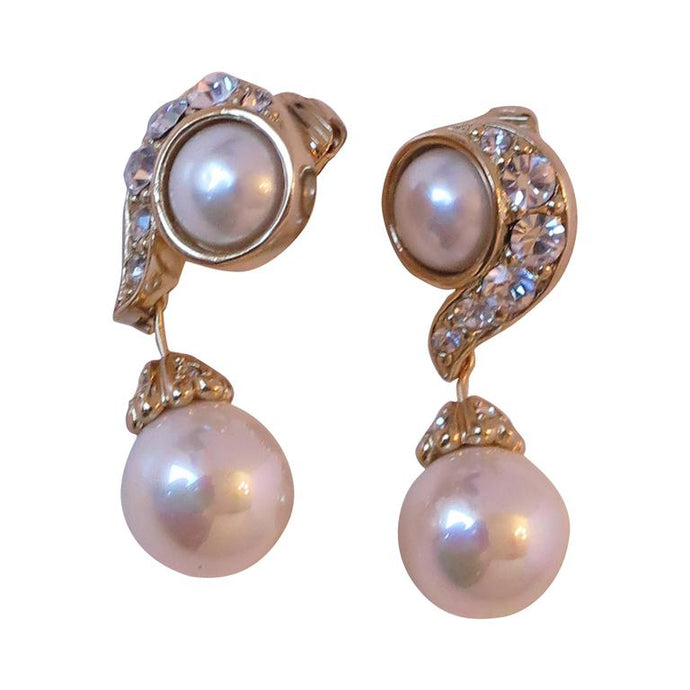 Christian Dior Rhinestone & Pearl Drop Clip On Earrings