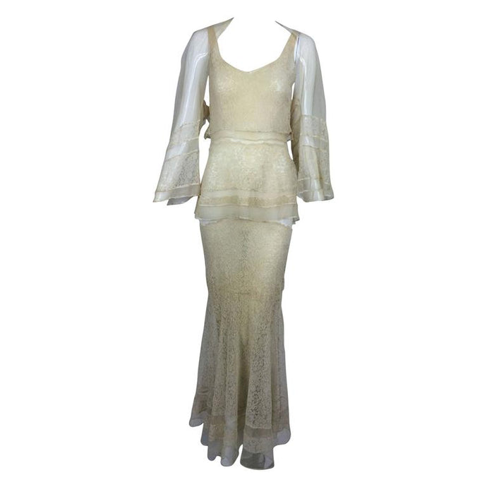 Vintage Champagne Lace Silk Bias Cut Tiered Wedding Dress & Shrug 1930s
