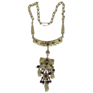 Henry Perichon Gilded metal renaissance style necklace 1960s