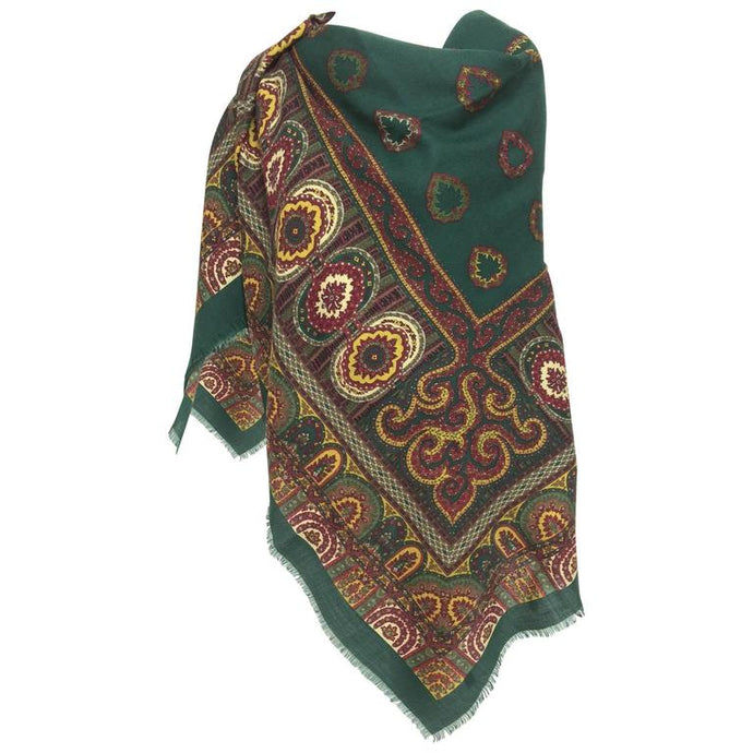 SOLD Gucci forest green paisley wool challis shawl 1980s