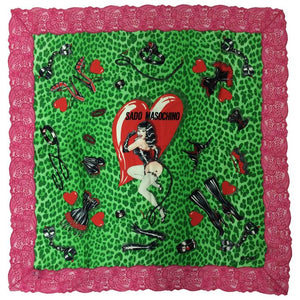 SOLD Moschino Sado Masochino large silk scarf with hot pink lace border