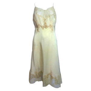 Vintage French Hand Made Champagne Silk Lace Slip 1950s