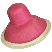 Eric Javits Pink & Natural Fine Straw Wide Brim Hat