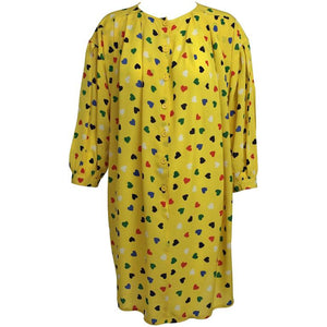 Emanuel Ungaro Coloured Heart Print Yellow Smock Dress 1980s
