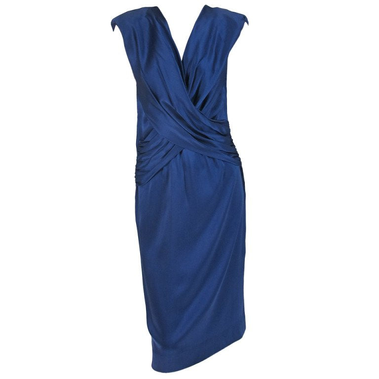 John Anthony marine blue silk cocktail dress 1990s