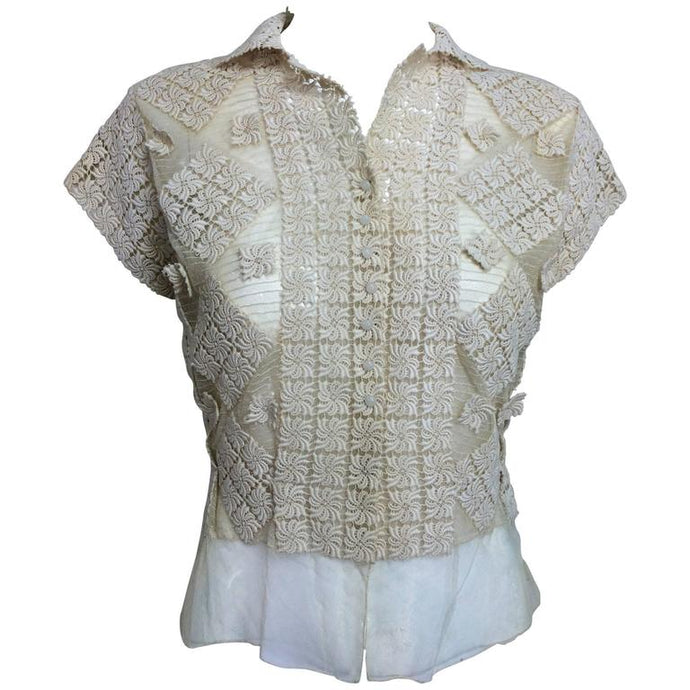 Sheer cream cotton tulle & lace button front short sleeve blouse 1930s