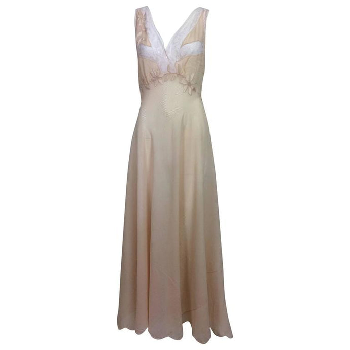 Hand made pleated silk chiffon bias cut appliqued night gown 1930s