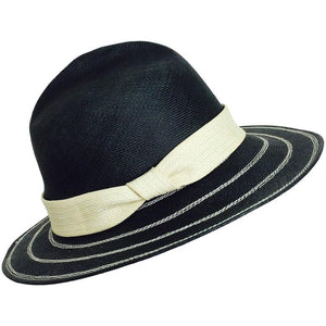 James Galanos black & ivory straw fedora hat 1960s