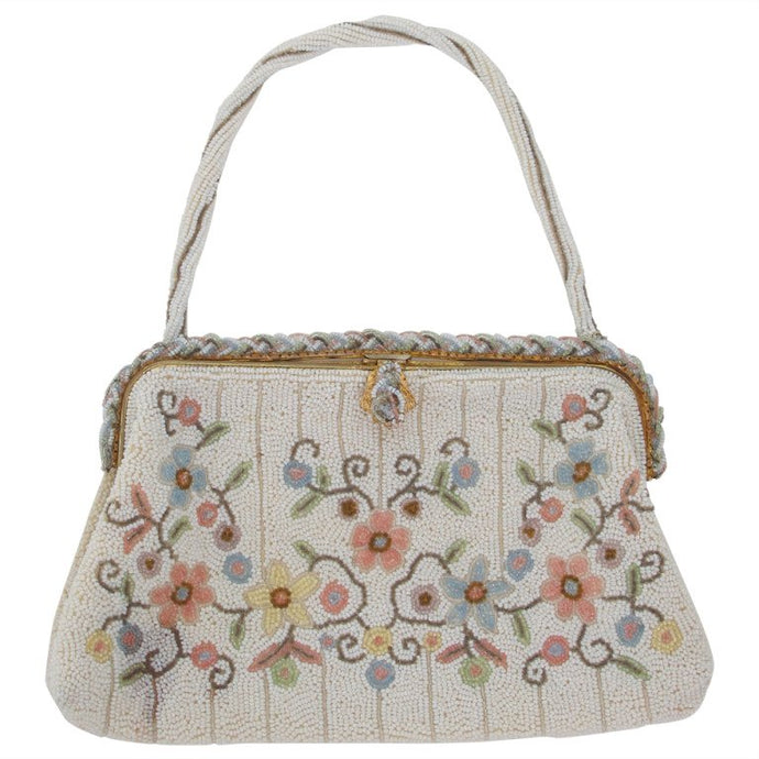 Llewellyn hand made in France beaded floral evening bag 1940s