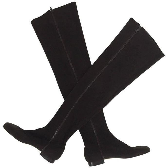 Andrea Pfister Thigh High Brown Neoprene Side Zipper Boots