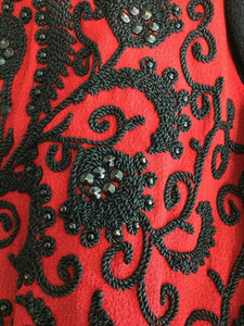 Passementerie beaded long sleeve jacket red & black crepe 1930s