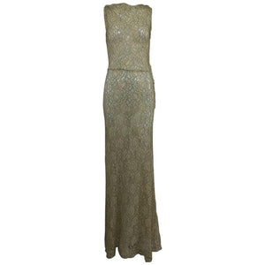 Vintage Gold Metallic Thread and Cream Lace 1930s Evening Dress