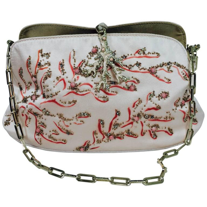 Valentino Garavani hand painted & beaded coral jewel evening bag