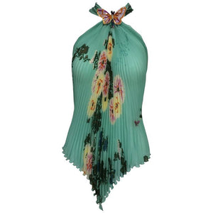 Emanuel Ungaro Aqua Floral Print Pleated Silk Butterfly Halter Top